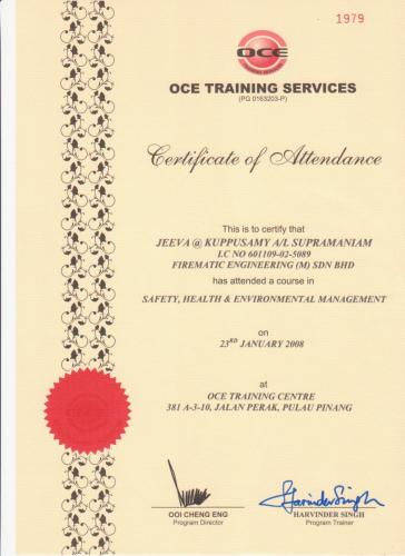 15.  SAFETY, HEALTH  INVIRONMENTAL MANAGEMENT - OCE